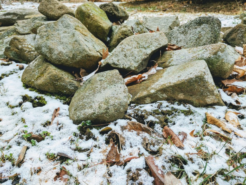 Stones dusted with Snow. Copyright Catherine Goshen 2016.